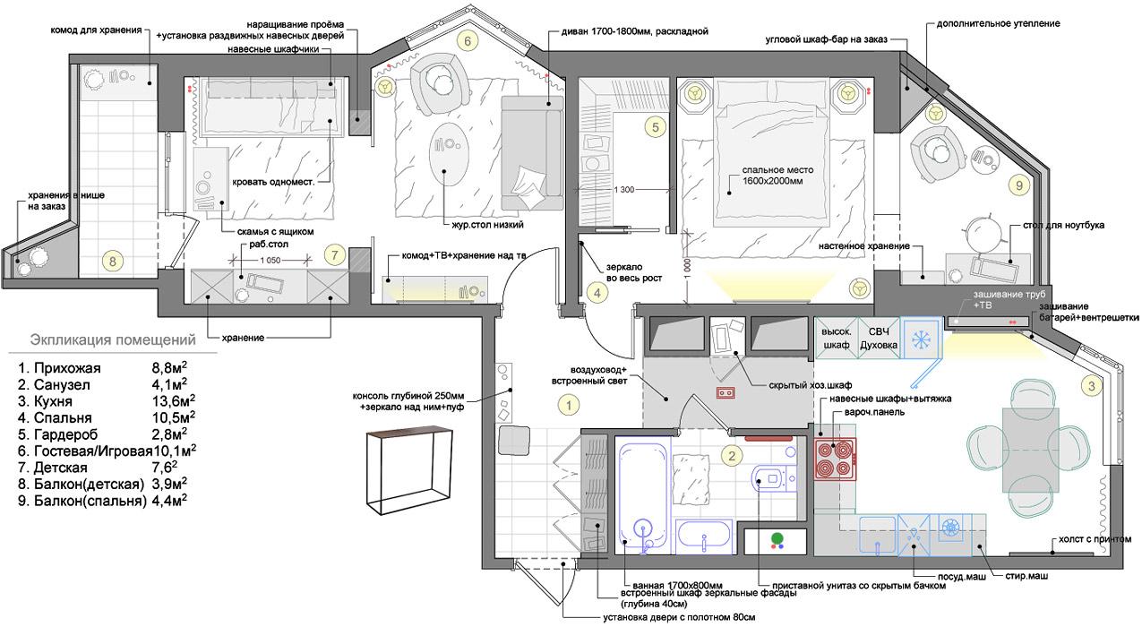 Дизайн двухкомнатной квартиры п44т