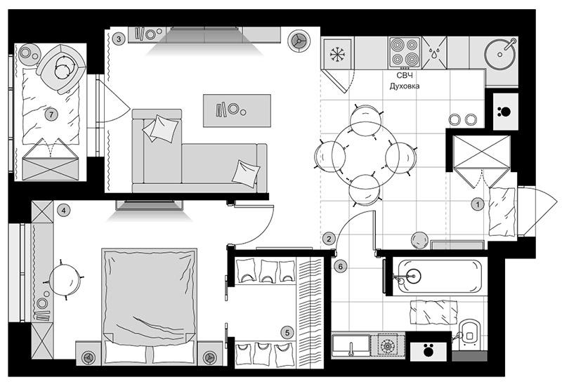 Планировочное решение в жилом комплексе Фили Град, дизайн проект