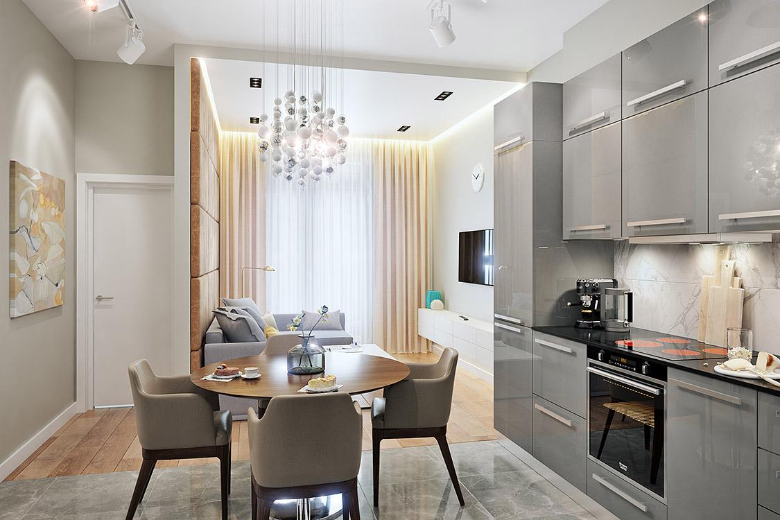концепция интерьера, дизайн интерьера в жилом комплексе фили град, гостиная, кухня, студия