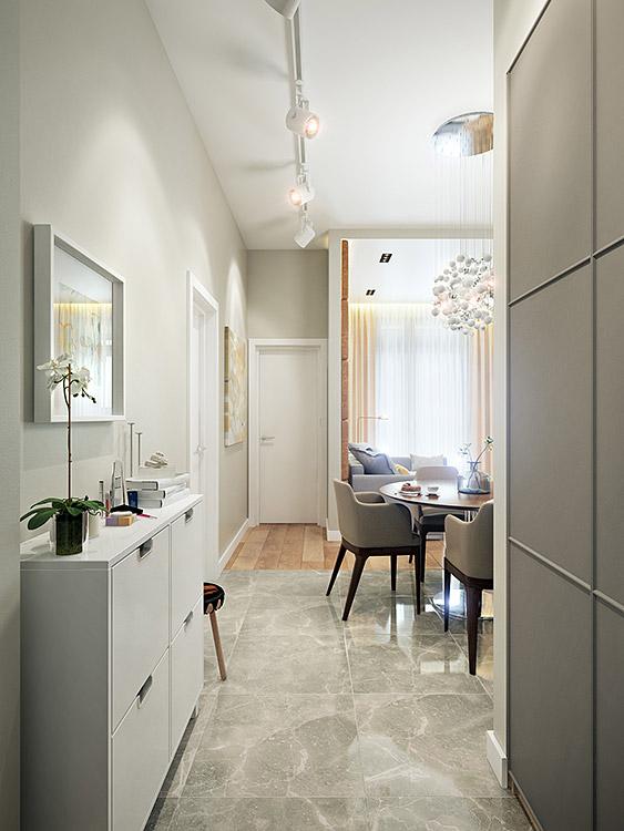 концепция интерьера, дизайн интерьера в жилом комплексе фили град, прихожая