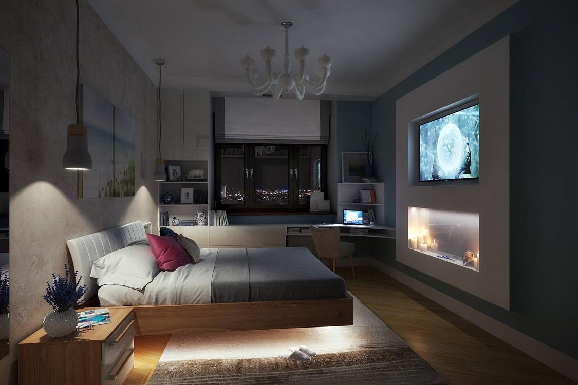 Интерьер спальни, дизайн, спальня, багет, багете, телевизор, современная, современный, контемпорари, дизайнер, егор сомов, фили град, виноградный, утесов